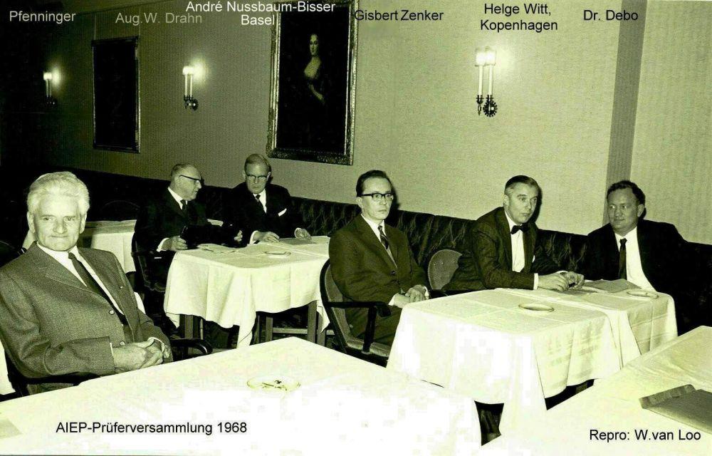 von links- Franz Pfenninger, August W. Drahn, Eduard Peschl, Gisbert Zenker, Albert Matl, Dr. Arno Debo, 1968.jpg
