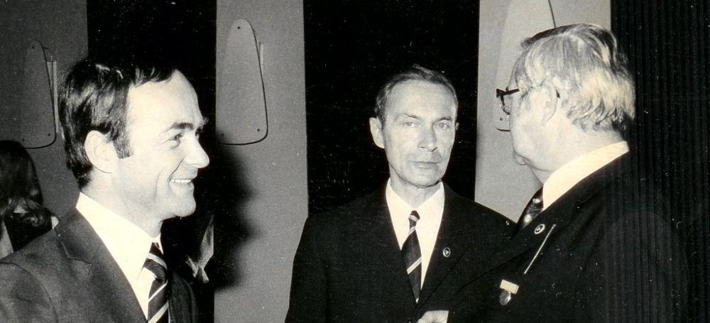 von links: Fritz Heimbuechler, Wolfram Seeger, Karl-Heinz Dobbert, 1973.JPG